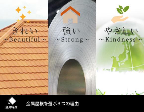 金属屋根を選ぶ3つの理由